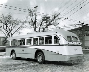 In spite of the war effort, MCI did build a bus in 1942. It was a city transit bus powered by overhead trolley wires and was reportedly the first trolley bus built in Canada. It operated in Winnipeg for 25 years.