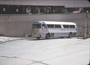 Motor Coach Industries was still relatively unknown in the United States until the new Pembina facility opened in late 1963. With the delivery of the first MC-5 and MC-5A coaches to Greyhound, the industry took notice and began placing orders for MCI coaches. This Greyhound MC-5A was photographed in April of 1979 coming up the ramp from the old Chicago Greyhound Terminal on Randolph Street. The simplified paint scheme indicated that it was one of several coaches being offered for sale.